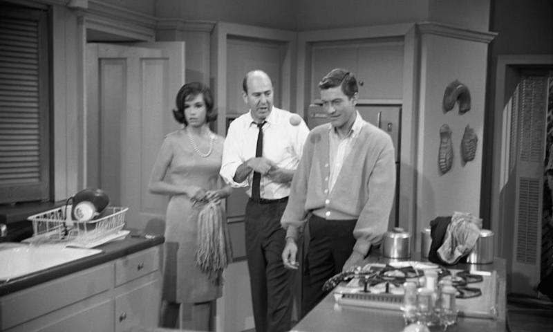 Dick Van Dyke, right, and Mary Tyler Moore with Carl Reiner during a rehearsal of The Dick Van Dyke Show in 1963.