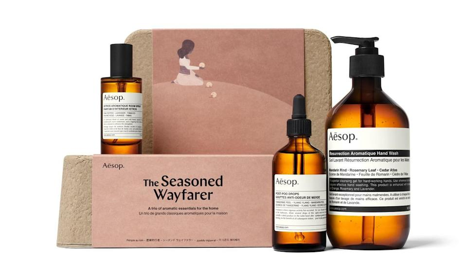 "<p>Fancy hand soap is the gift everyone wants but doesn't want to buy for themselves – especially now when we're all <a href=""https://www.instyle.com/beauty/health-fitness/right-way-to-wash-hands"" rel=""nofollow noopener"" target=""_blank"" data-ylk=""slk:washing our hands"" class=""link rapid-noclick-resp"">washing our hands</a> religiously. Rounding out the set is a room spray and post-poo drops – bathroom essentials for anyone who loves to entertain. </p>"