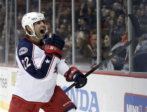 Columbus Blue Jackets center Vinny Prospal celebrates his goal against the Anaheim Ducks during the first period of an NHL hockey game in Anaheim, Calif. on Monday, Feb. 18, 2013. (AP Photo/Chris Carlson)
