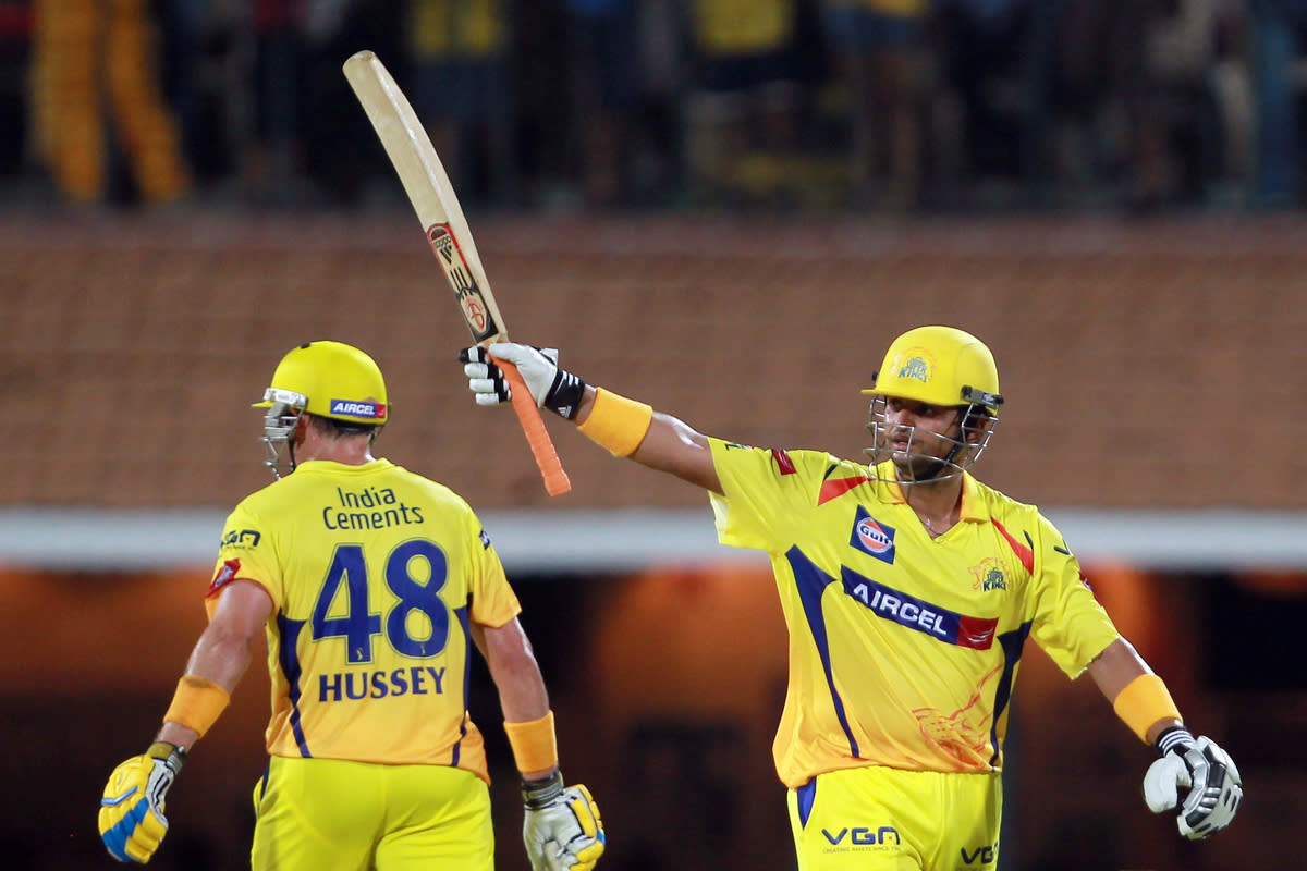 Suresh Rain celebrates his half century during match 30 of the Pepsi Indian Premier League between The Chennai Super Kings and the Rajasthan Royals held at the MA Chidambaram Stadium in Chennai on the 22nd April 2013.  (BCCI)
