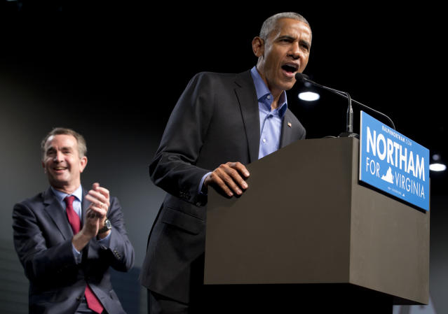 Former President Barack Obama with Democratic gubernatorial candidate Ralph Northam during a rally in Richmond, Va., Oct. 19, 2017. (Photo: Steve Helber/AP)