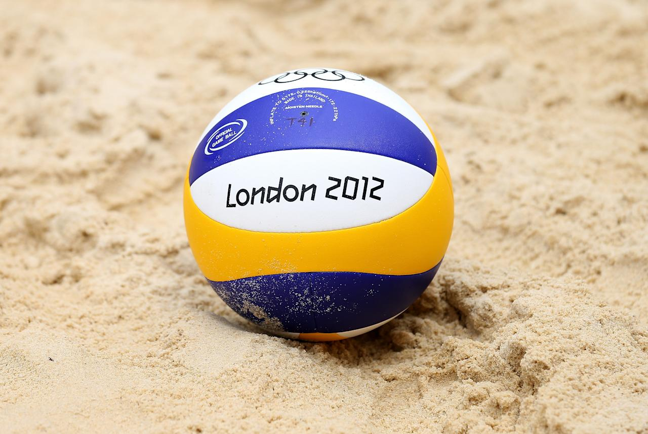 LONDON, ENGLAND - JULY 18:  A general view of a beach volleyball at Horse Guards Parade on July 18, 2012 in London, England.  (Photo by Scott Heavey/Getty Images)