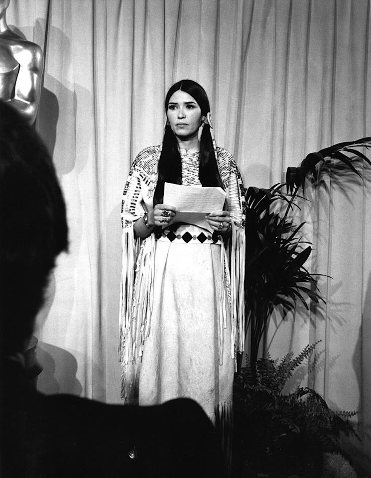 "Marlon Brando sends Sacheen Littlefeather on stage (1973): Brando won best actor for his iconic portrayal of Don Corleone in ""The Godfather."" But he refused to accept the award, and instead sent a woman who said she was an Apache named Sacheen Littlefeather to speak on his behalf. Brando was protesting what he believed to be stereotypical treatment of Native Americans in the film industry. Littlefeather's speech drew a mixture of applause and boos, as well as questions about whether she was truly a Native American herself."