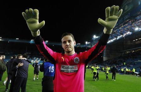 Britain Football Soccer - Sheffield Wednesday v Huddersfield Town - Sky Bet Championship Play Off Semi Final Second Leg - Hillsborough - 17/5/17 Huddersfield Town's Danny Ward celebrates after winning the penalty shoot out and  match  Action Images via Reuters / Jason Cairnduff