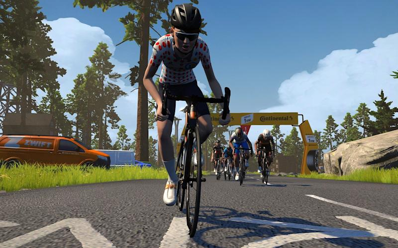 Screengrab from Zwift of a virtual tour de france - Zwift