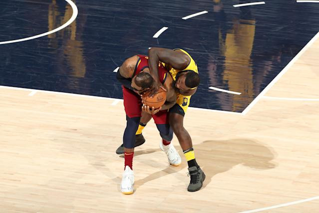 LeBron James and Lance Stephenson went at it again in Game 4. (Photo by Nathaniel S. Butler/NBAE via Getty Images)