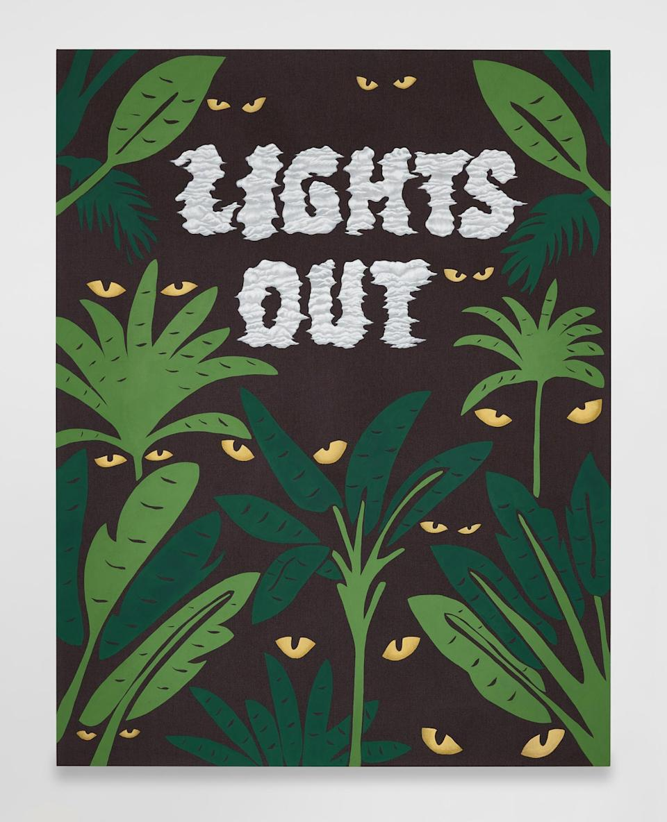 JOEL MESLER<br>Untitled (Lights Out) 2021 Pigment on linen 84 x 65 inches<br>(213.4 x 165.1 cm)
