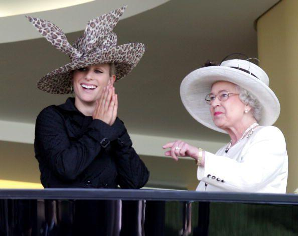 <p>With her granddaughter, Zara Tindall</p>