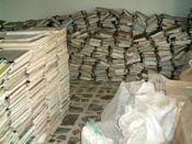 This handout picture provided by the Iraq Memory Foundation on September 10, 2020, shows documents that were found in one of the headquarters of Saddam's Baath Party in the Iraqi capital Baghdad