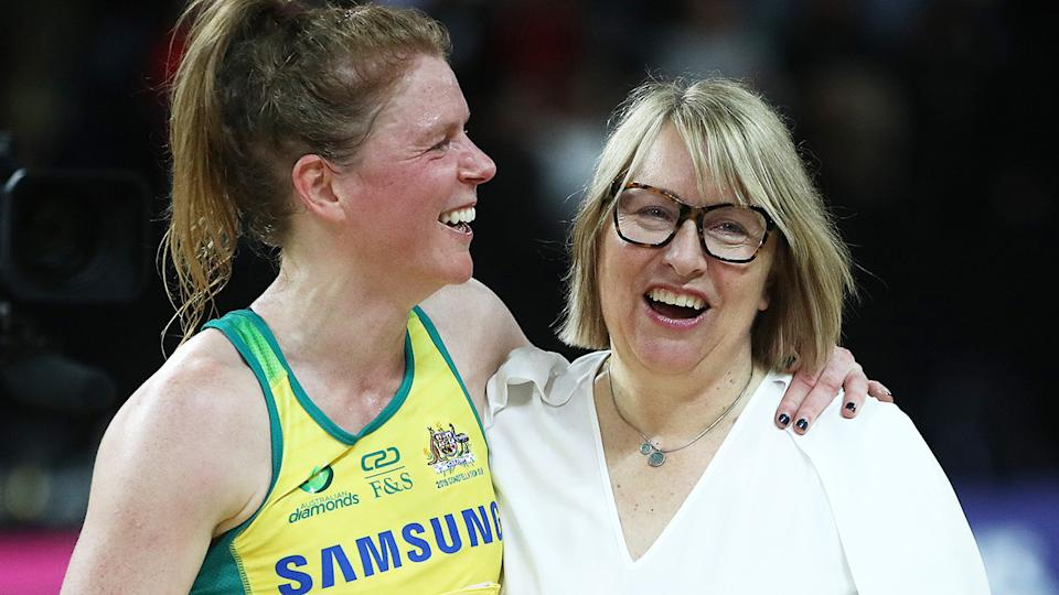 Australian coach Lisa Alexander hugs Tegan Philip following the 2019 Constellation Cup match against the New Zealand Silver Ferns.