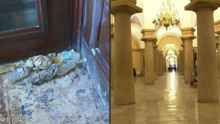 Images of Capitol Hill interior day after pro-Trump mob storms building