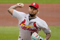 St. Louis Cardinals starting pitcher Carlos Martinez delivers during the first inning of the first baseball game of a doubleheader against the Pittsburgh Pirates in Pittsburgh, Friday, Sept. 18, 2020. (AP Photo/Gene J. Puskar)