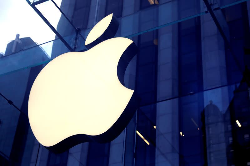 FILE PHOTO: The Apple Inc. logo is seen hanging at the entrance to the Apple store on 5th Avenue in New York, U.S.