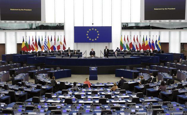 European Parliament President David-Maria Sassoli (C) opens the plenary session of the European Parliament from the headquarters of the European Parliament in Strasbourg, eastern France, on December 14, 2020. (Photo by FREDERICK FLORIN / AFP) (Photo by FREDERICK FLORIN/AFP via Getty Images) (Photo: FREDERICK FLORIN via Getty Images)