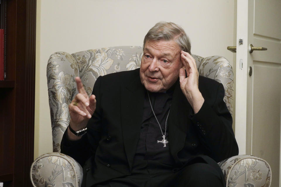 Cardinal George Pell answers' a journalists question during an interview with the Associated Press inside his residence near the Vatican in Rome, Monday, Nov. 30, 2020. The pope's former treasurer, who was convicted and then acquitted of sexual abuse in his native Australia, said Monday he feels a dismayed sense of vindication as the financial mismanagement he tried to uncover in the Holy See is now being exposed in a spiraling Vatican corruption investigation. (AP Photo/Gregorio Borgia)
