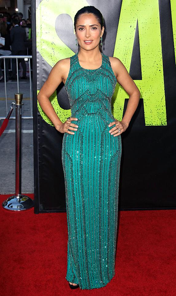 "Following in Blake's footsteps was her <a target=""_blank"" href=""http://movies.yahoo.com/movie/savages-2012/"">""Savages""</a> co-star, Salma Hayek, who looked equally alluring in an emerald-green Gucci gown, coordinating earrings, and a chic ponytail. (6/25/2012)"
