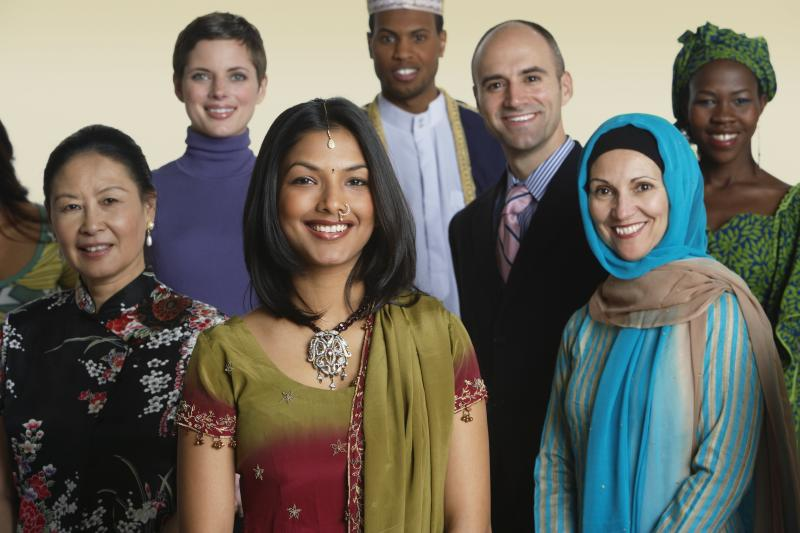 Multi-ethnic people in traditional dress