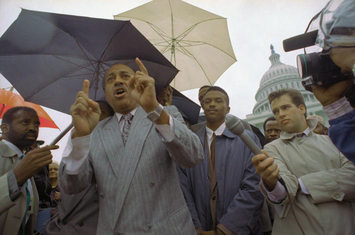 Federal Judge Alcee Hastings (L) addresses a rally of his supporters outside the Capitol in the midst of his ongoing impeachment hearing before the Senate in 1989. At center is his son Alcee Hastings II. Hastings is from Florida. (Photo; Bettman Archive via Getty Images)