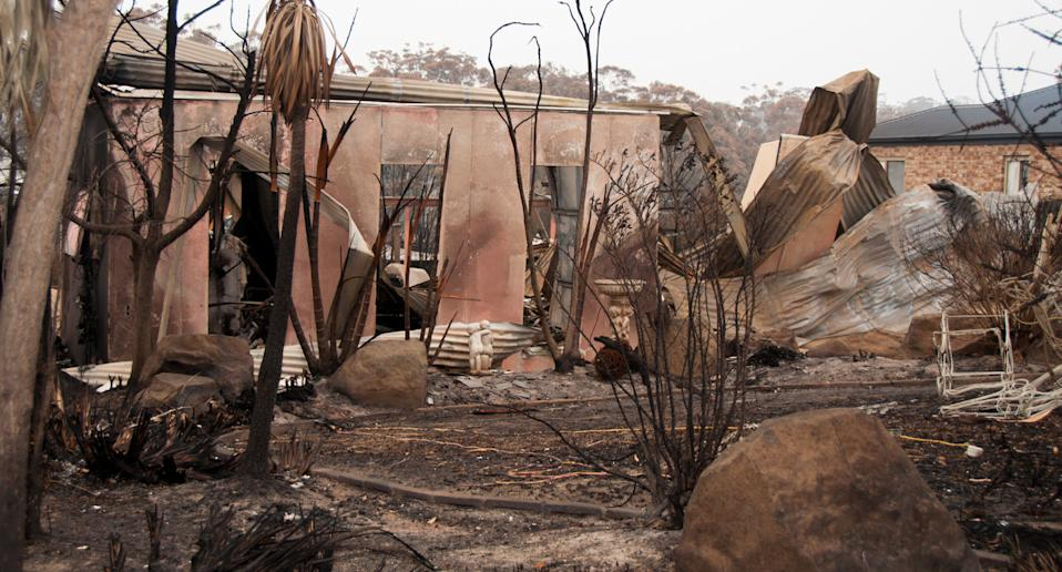 Photo shows home in Malua Bay, NSW, destroyed in the bushfires.