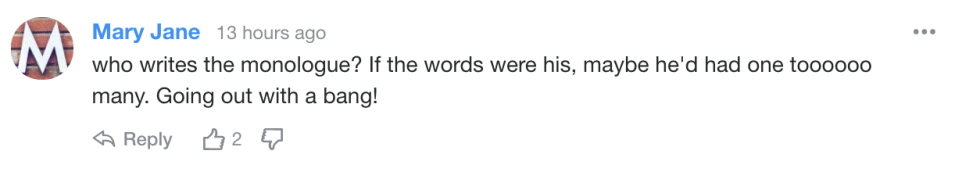 Yahoo readers react to Ricky Gervais's monologue.