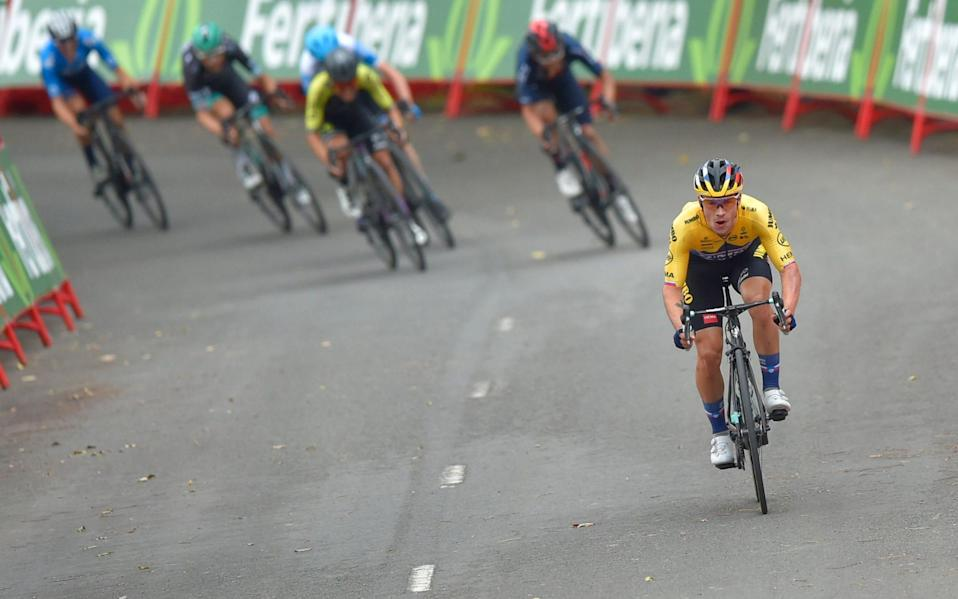 Team Jumbo rider Slovenia's Primoz Roglic wins the 1st stage of the 2020 La Vuelta cycling tour of Spain, a 173 km race from Irun to Arrate on October 20, 2020 - ANDER GILLENEA