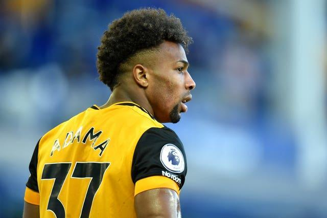 Wolverhampton Wanderers' Adama Traore in profile on the pitch