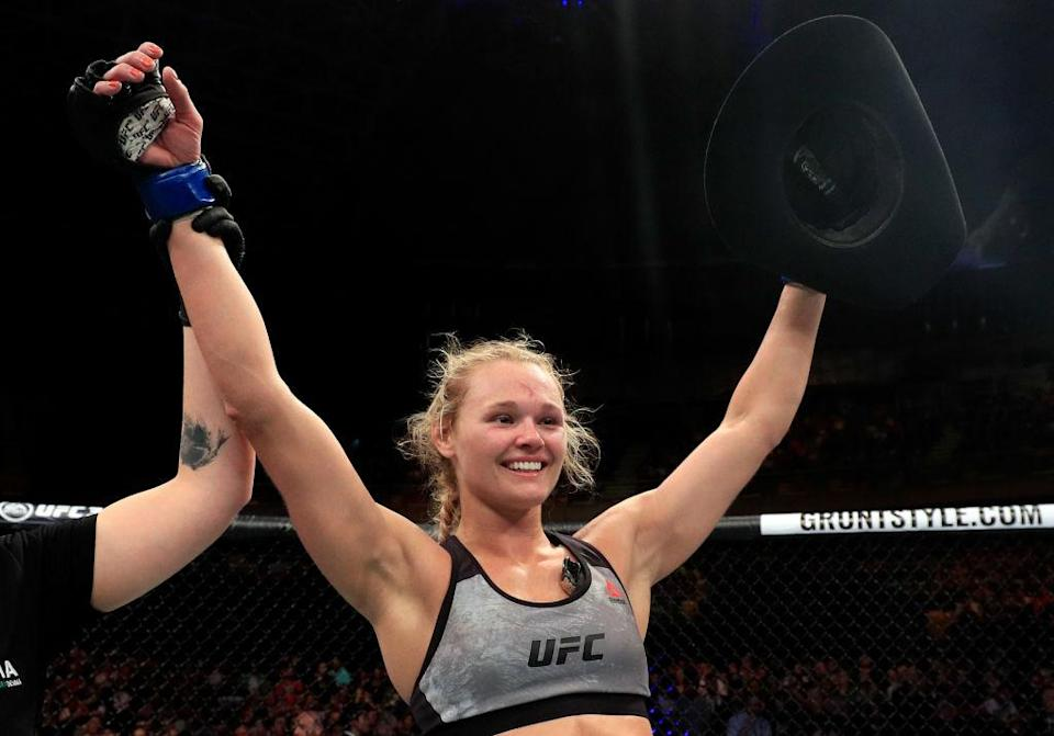 Andrea Lee after her first UFC victory. (Getty)