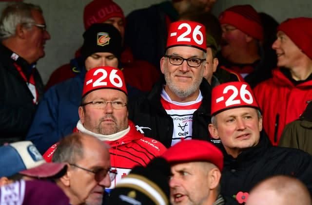 Gloucester fans take aim at Saracens following their points deduction (Simon Galloway/PA)