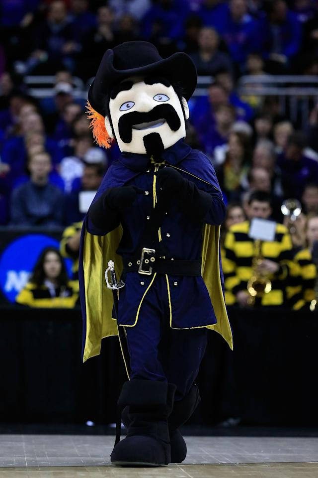 KANSAS CITY, MO - MARCH 22: The Explorer, mascot for the La Salle Explorers, performs in the first half against the Kansas State Wildcats during the second round of the 2013 NCAA Men's Basketball Tournament at the Sprint Center on March 22, 2013 in Kansas City, Missouri. (Photo by Jamie Squire/Getty Images)