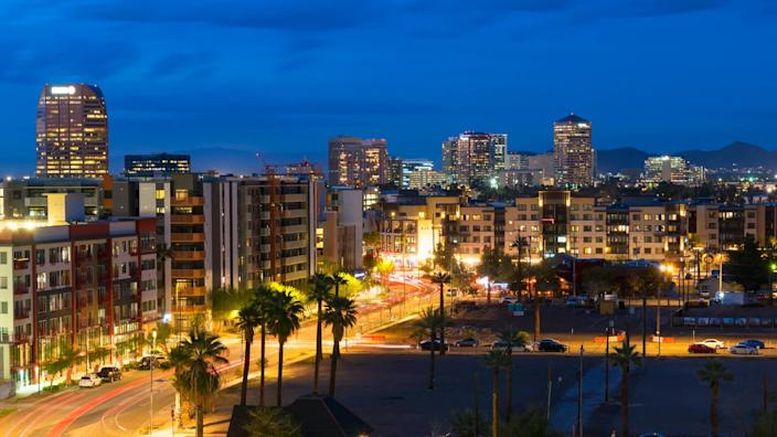The skyline of Scottsdale, Arizona, in evening light.