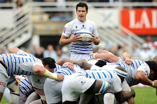 Castres' scrum-half Thierry Lacrampe (up) gets ready to throw the ball in a scrum during the French Top 14 rugby union match Begles-Bordeaux vs. Perpignan on May 12, 2012, at the Andre Moga stadium in the French southeastern city of Begles. AFP PHOTO / NICOLAS TUCATNICOLAS TUCAT/AFP/GettyImages