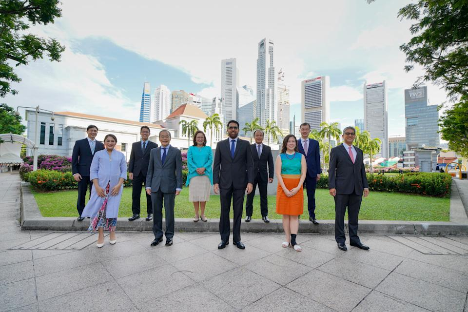 The Workers' Party's 10 elected Members of Parliament, just before the official opening of Singapore's 14th Parliament on Monday, 24 August 2020. PHOTO: Wong Twee Liang/Workers' Party Facebook page