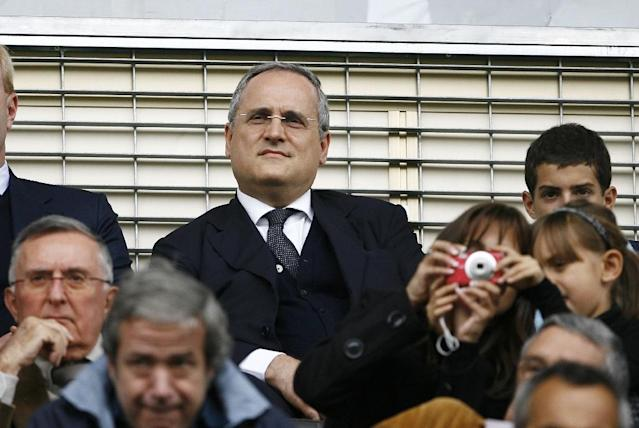 Lazio president Claudio Lotito, seen in 2010, paid a visit to a Rome synagogue on Tuesday morning, bringing a floral wreath to remember all victims of anti-semitism (AFP Photo/MARCELLO PATERNOSTRO)