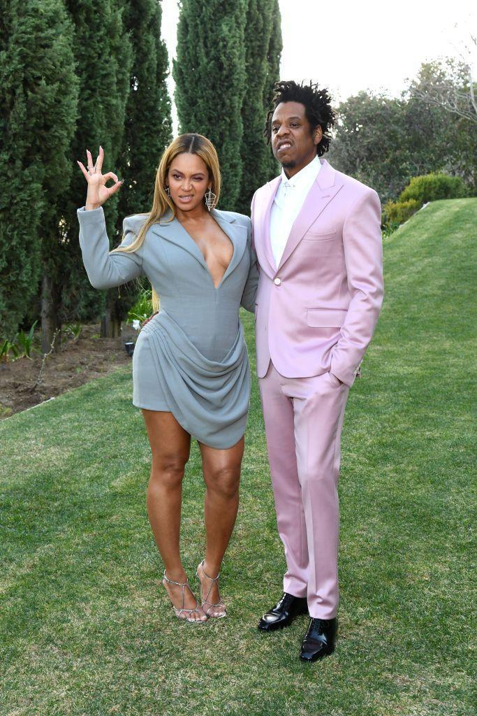 <p>The couple took pictures before heading into Jay-Z's annual pre-Grammys Roc Nation brunch in February, 2020.</p>