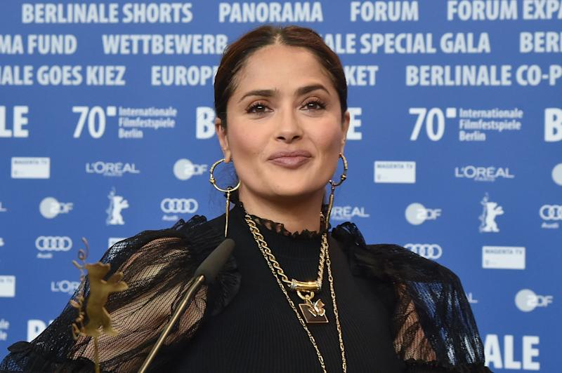 "BERLIN, GERMANY - FEBRUARY 26: Salma Hayek attends the ""The Roads Not Taken"" press conference during the 70th Berlinale International Film Festival Berlin at Grand Hyatt Hotel on February 26, 2020 in Berlin, Germany. (Photo by Stephane Cardinale - Corbis/Corbis via Getty Images)"