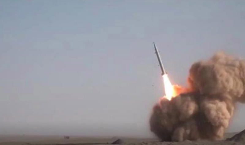 A screen grab taken from a handout video made available by Iranian state television's English-language service Press TV shows Iran's Islamic Revolutionary Guard Corps (IRGC) launching the new Raad-500 short-range ballistic missile.