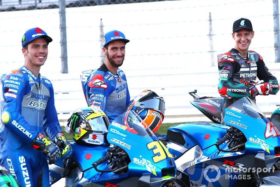 "Joan Mir, Team Suzuki MotoGP, Alex Rins, Team Suzuki MotoGP, Fabio Quartararo, Petronas Yamaha SRT<span class=""copyright"">Gold and Goose / Motorsport Images</span>"