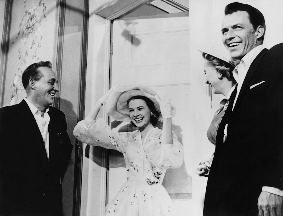 <p>Bing Crosby, Frank Sinatra, and Celeste Holm join their <em>High Society </em>costar, Kelly, in a promotional shoot for their film in 1956.  </p>