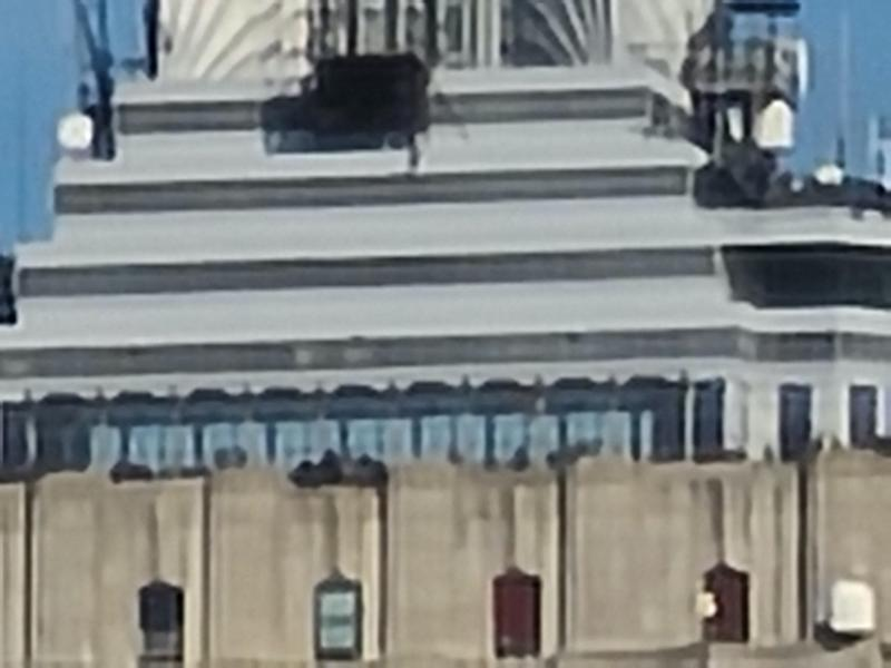 A photo of the Empire State Building as seen via the Galaxy S20 with 100x zoom. (Image: Howley)