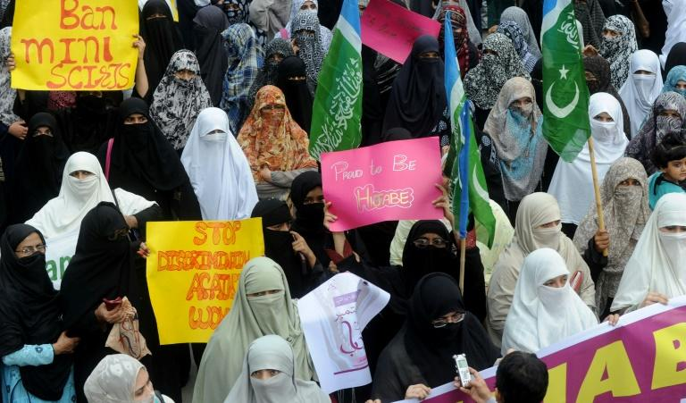 Pakistani women of Islamist Jamaat-e-Islami party mark World Hijab Day. The local directive, since reversed, would have made it compulsory for female students in Peshawar and Haripur to wear the veil