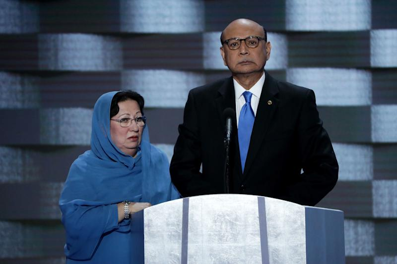 Khizr Khan, right, and Ghazala Khan appear at the Democratic National Convention in July 2016. Khizr Khan's speech sparked vociferous attacks from Donald Trump.