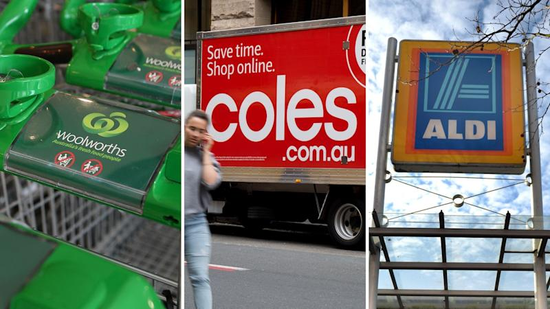A Woolworths trolley, a Coles delivery van and Aldi sign.