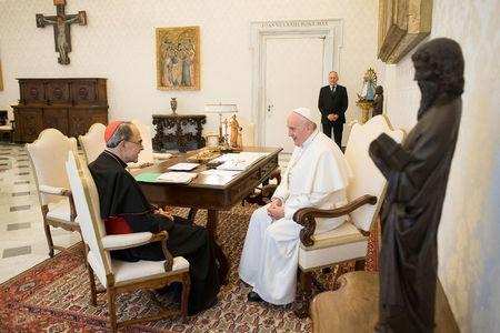FILE PHOTO: Pope Francis receives Cardinal Philippe Barbarin, Archbishop of Lyon, at the Vatican, March 18, 2019. Vatican Media/Handout via REUTERS