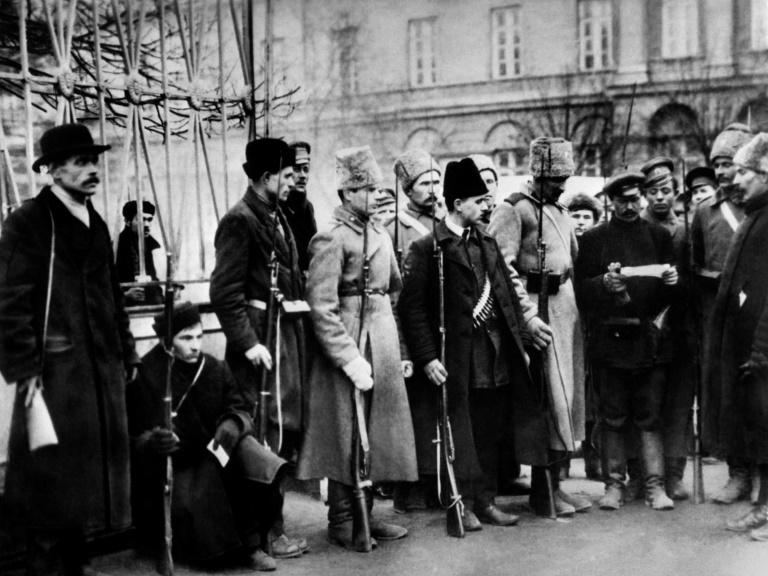 Picture dated November 1917 of Bolshevik fighters receiving mission orders
