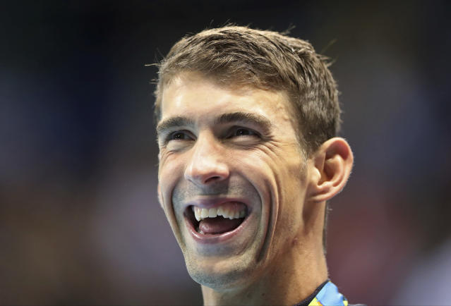In this Friday, Aug. 12, 2016 file photo, United States' Michael Phelps celebrates his silver medal in the men's 100-meter butterfly medals ceremony during the swimming competitions at the 2016 Summer Olympic in Rio de Janeiro, Brazil. Olympic swimmer Michael Phelps and Oklahoma City Thunder star Russell Westbrook are among the finalists for best male athlete at the ESPY Awards. Tennis star Serena Williams and gymnast Simone Biles are two of the finalists for best female athlete. (AP Photo/Lee Jin-man, File)