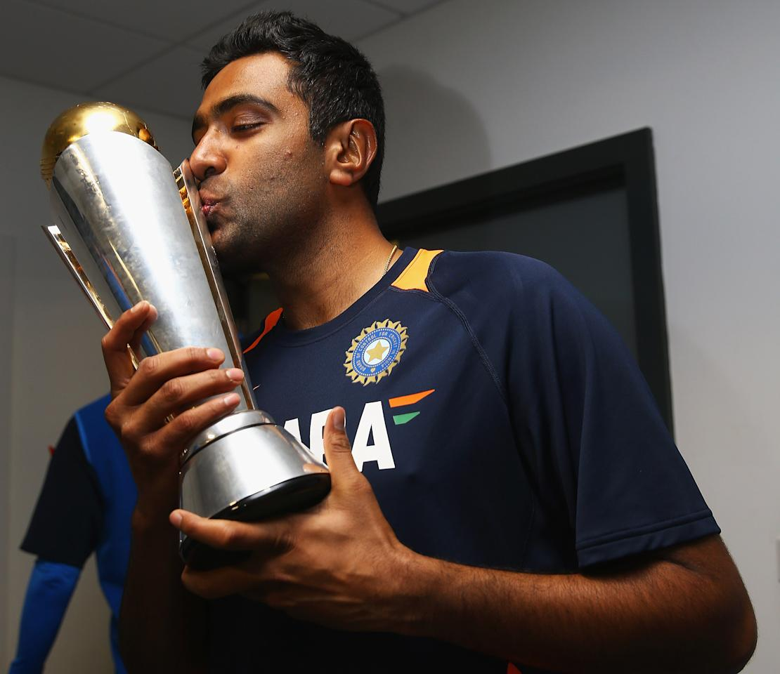 Ravichandran Ashwin of India celebrates his teams win over England during the ICC Champions Trophy Final between England and India at Edgbaston on June 23, 2013 in Birmingham, England.  (Photo by Matthew Lewis-ICC/ICC via Getty Images)