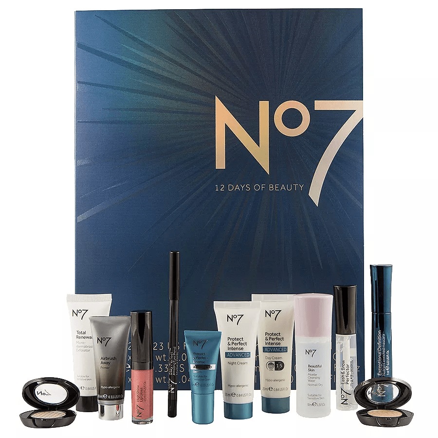 "<p><a rel=""nofollow"" href=""https://www.walgreens.com/store/c/no7-beauty-advent-calendar/ID=prod6360640-product?ext=gooPLA_-_Beauty&ext=gooSupplier_Funded_-_No7_PLA&pla&adtype=pla&kpid=sku6292961&sst=81f924b2-7b8a-4b13-933e-8ea102b54e39"">Buy Now</a>  $40<br></p><p><strong>Best For: </strong><br>Anyone who is positively addicted to the British skincare brand.<br></p><p><strong>What's Inside:</strong><br>A mascara, a primer, a lipgloss, a micellar cleansing water, an eye pencil, a day cream sunscreen, and more. </p>"
