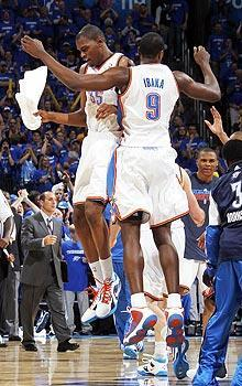 Kevin Durant and Serge Ibaka had much more reason to celebrate after their Game 2 win