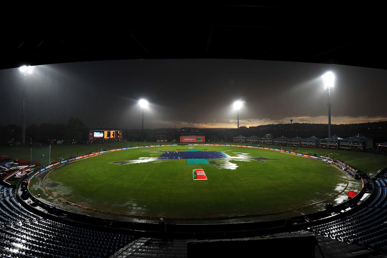 PRETORIA, SOUTH AFRICA - OCTOBER 23:  Rain delay before the start of play during the Karbonn Smart CLT20 match between Nashua Titans and Delhi Daredevils at SuperSport Park on October 23, 2012 in Pretoria, South Africa.  (Photo by Duif du Toit/Gallo Images/Getty Images)