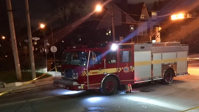 The fire crew were on their way to an emergency call on St. Clair Avenue W. at the time of the collision. (Mehrdad Nazarahari/CBC )